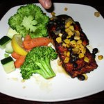 Salmon with corn and black bean salsa.