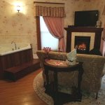 Enjoy our Ann Eliza Suite with cozy fireplace and two person jacuzzi!
