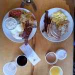 best bacon ever. perfect over-medium eggs. heavenly crisp hashbrowns. creamy grits. smooth coffe