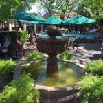 Fountains add to the charm of the patio.