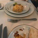 Conchinha com carne de siri. entrada do menu executivo