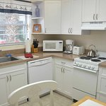 Queen Studio has full eat-in kitchen with dishwasher