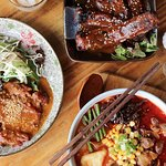 Spicy Beef Flank Noodles, Korean Style Ribs, Satay Chicken Nasi Lemak