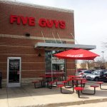 side entrance & patio for Five Guys