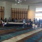 Long queue waiting for breakfast