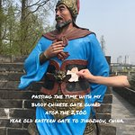 Flat Stanley with a warrior atop the East Jingzhou Gate.