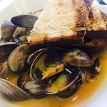 Manila clams in chorizo broth