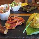 Local food. Tacacho con cecina, chorizo tarapotino y su salsa criolla.
