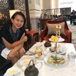 Easter pastries at high tea and piano in background