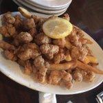 Gator tail app n fried oysters n jalapeño corn