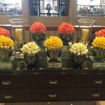 Beautiful fresh flowers in the lobby