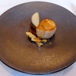 08 Scallop, artichoke puree and black truffle amuse bouche, William Drabble, Seven Park Place