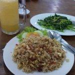 Fried Chinese Spinach, nasi goreng and fresh orange juice