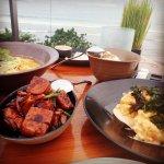Prawns, tofu, seafood soup
