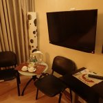 LCD television, electric kettle and complimentary drinks