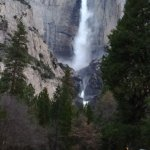 view of Yosemite falls from the parking lot