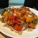 Big Portions Sweet and Sour Chicken and Mixed Meats Noodles.