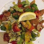 Fattoush salad and squid calamari