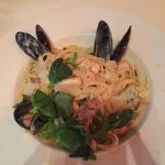 Fetticcine with seafood and basil