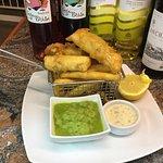 Fried Cod in Tempura Matter with Mushy peas