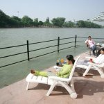 Guests Relaxing on the private Ganga Ghat of Hotel Ganga Sadan Haridwar