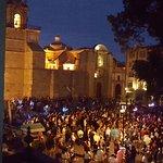 Zocalo Festivities from window table La Casa de la Abuela
