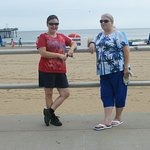 Cathy & Kathleen on the boardwalk of Virginia Beach