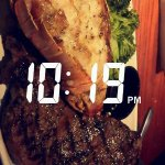 sister's meal (steak and lobster with side salad)