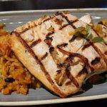 Chicken tikka curry & char-grilled salmon