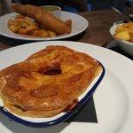 Fish + chips / steak , beetroot & orange pie