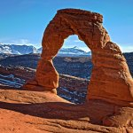 Here is Delicate Arch in winter. The hike is cool and easy in winter compared to summer hiking.