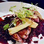 Tableau Restaurant - Roasted duck breast with red wine braised cabbage, lentil du puy honey roas