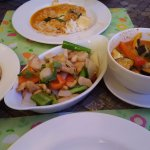 Vegetable red curry, and chicken with cashew nuts