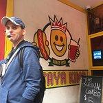 Food tour stop at papaya king! Lovely hotdogs!