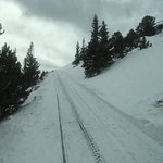 Snowdrift over the tracks. Our ascent ends here at 11,500 ft.