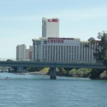 The hotel and bridge Mr Laughlin built to join Nevada and Arizona