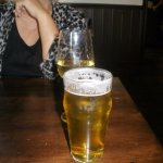 skimpy wine pour, house lager good