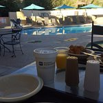 Breakfast by the pool.