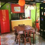 Our colorful open shared kitchen