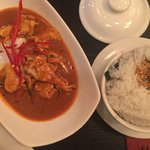 Chicken red thai curry and coconut rice