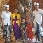 Just a few of the wonderful staff at Ayung with our son in the Resort Lobby
