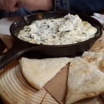 Spinatch and Artichoke Dip with Naan Bread.