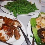 Fried Chicken (L), Snap Peas (M), Chow Mein (R)