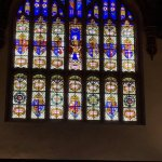 Great Hall stained glass window with Henry VIII in the centre