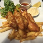 Fresh Beer battered Terakihi at Soljans Vineyard cafe on the Vineyards Honey & Black Sand Beach