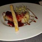 Suprema de bacalao con salsa natural de fresas, muy dulce y recomendable. Suprema de bacalao con