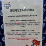 dineing times and prices for half board guests
