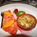 Déclinaison de gravelax (saumon fumé) et asperges