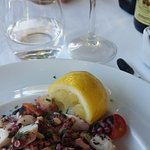 Delicately flavored octopus salad and Sicilian white wine