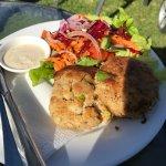 $12.50 salmon patties with salad.